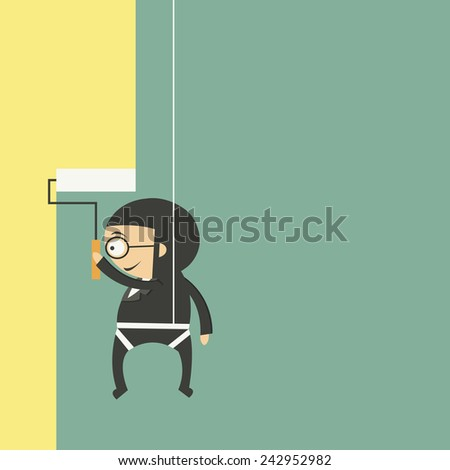 Businessman painting a wall with yellow paint and a paint roller - stock vector