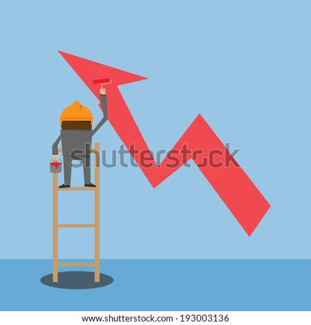 businessman painting growing graph - stock vector