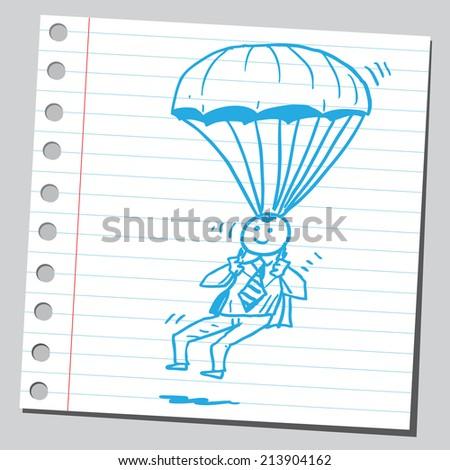 Businessman parachute - stock vector