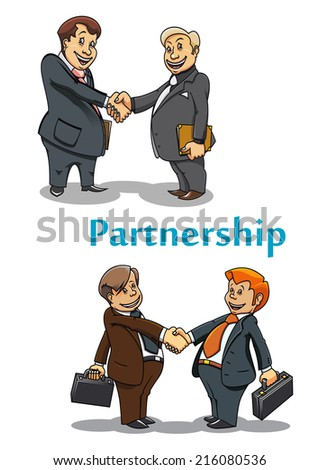 Businessman partnership and handshake symbol with cartoon adult and young businessman partners shaking hands - stock vector