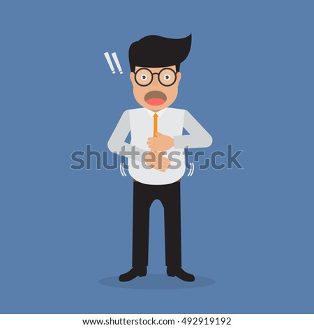 Businessman paunchy with overweight and office syndrome. Vector illustration business and health concept.