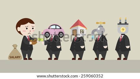 businessman pay monthly expenses cartoon vector - stock vector