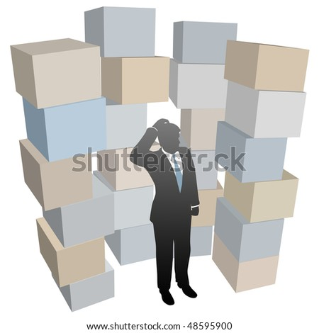 Businessman person with inventory problem in stacks of shipping boxes cartons. - stock vector