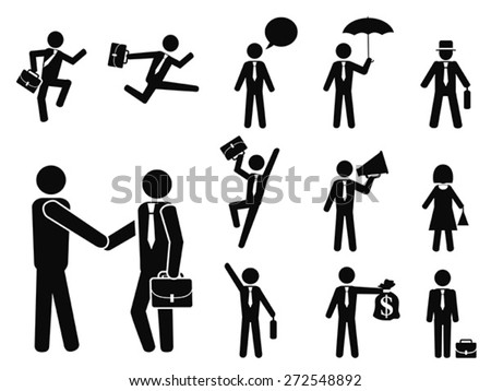 businessman pictogram icons set - stock vector