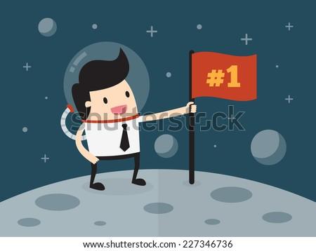 Businessman planting flag on moon - stock vector