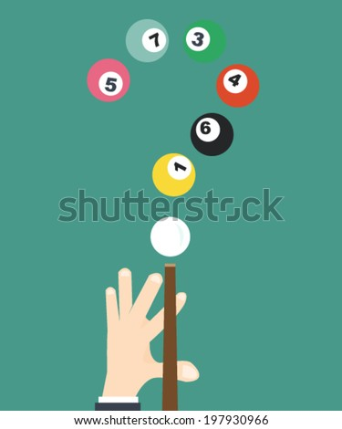 businessman Player Snooker - The decision of question  - stock vector