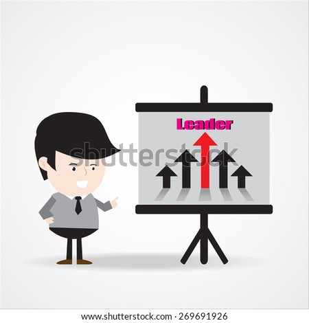 "Businessman point to ""leader"" word written on a board , business presentation concept . Vector EPS 10.  - stock vector"