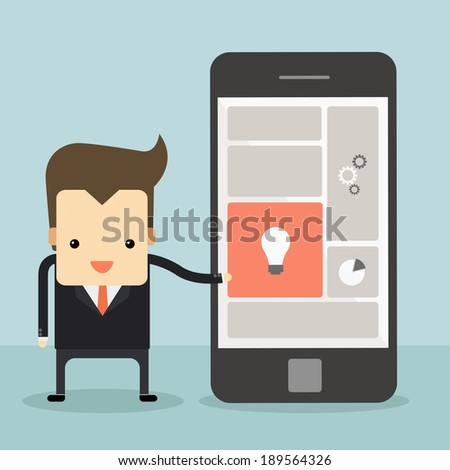 businessman point to smartphone vector - stock vector