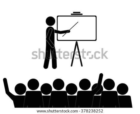 Businessman pointing at a board - stock vector