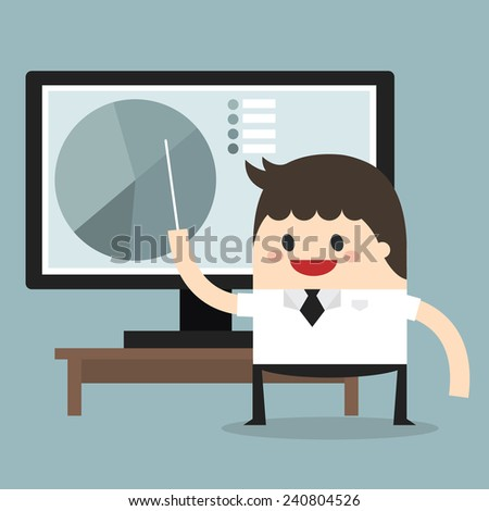 Businessman pointing at a board at a lcd monitor, flat design - stock vector