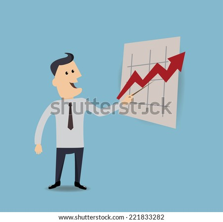 businessman pointing at arrow on a presentation board - stock vector
