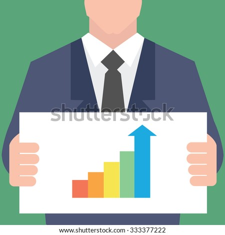 Businessman pointing at growth graph - stock vector