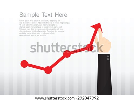 Businessman pointing at growth graph and business concept