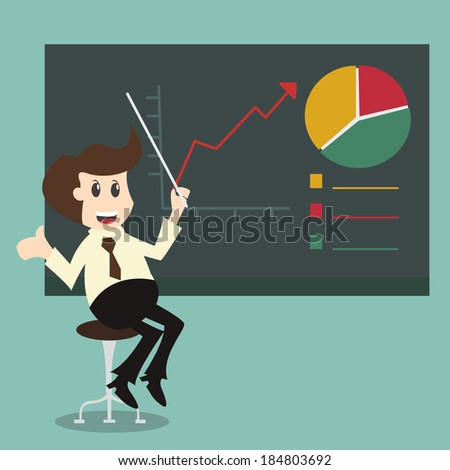 businessman pointing graph Chart growth concept - stock vector