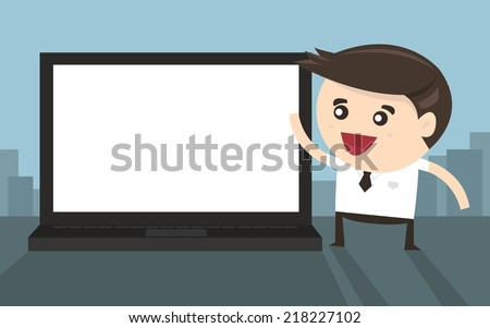 Businessman pointing to laptop screen, flat design - stock vector