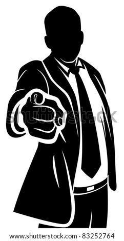Businessman pointing to the viewer - stock vector
