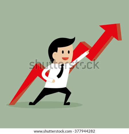 Businessman pointing up the arrow, Profit growth up, Business and finance concept.