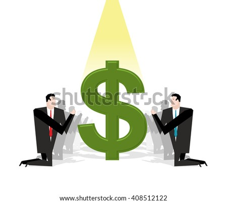 Businessman praying to dollar. Financial idol. Worship of money. Prayer cash. People are standing on their knees in front of dollar sign. Allegory illustration for magazine business - stock vector