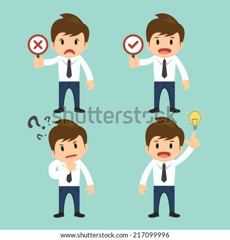 Businessman present wrong,right and present thinking,idea vector illustration  - stock vector