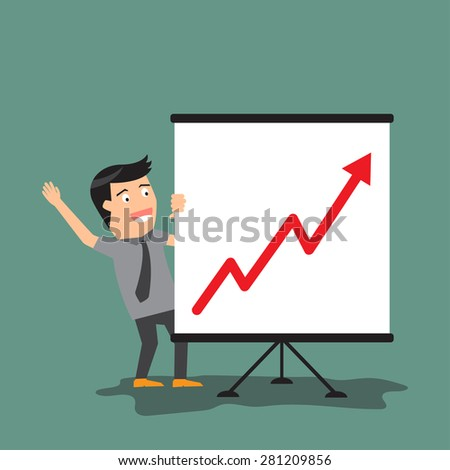 businessman presentation graph. vector illustration.