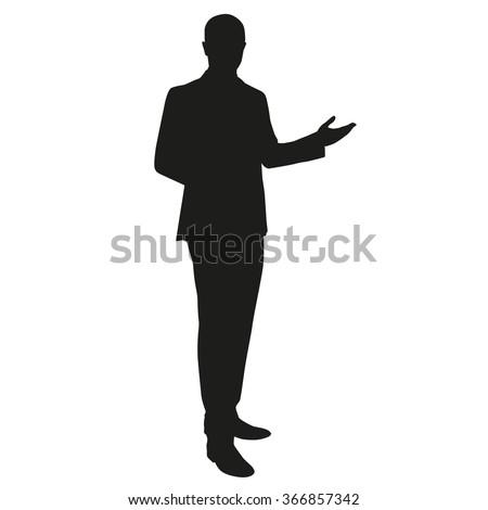 Businessman presentation. Vector silhouette - stock vector