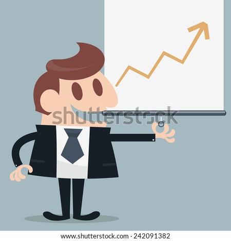 Businessman presented infographic cartoon - stock vector