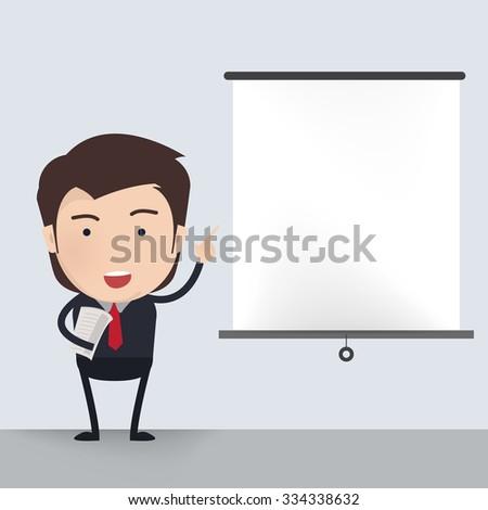 Businessman presenting. - stock vector