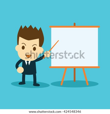businessman presenting and pointing on presentation board - stock vector