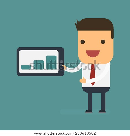 Businessman presenting bar charts on tablet, Vector cartoon concept abstract business - stock vector