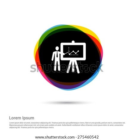 businessman presenting, businessman pointing at a board at a presentation, White pictogram icon creative circle Multicolor background. Vector illustration. Flat icon design style - stock vector