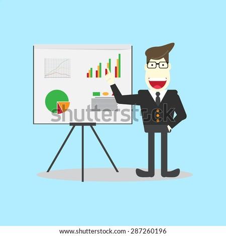 businessman presenting on flipchart - stock vector