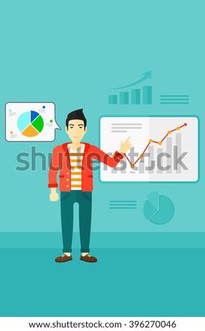 Businessman presenting report. - stock vector