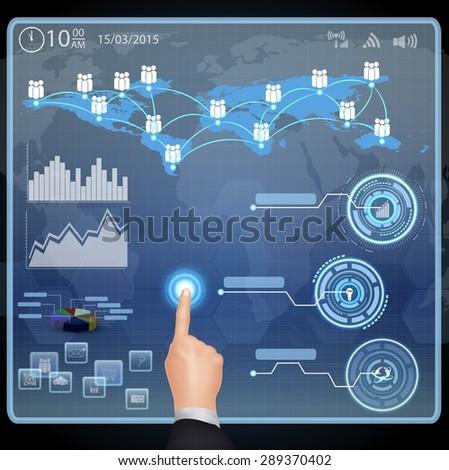 businessman presses interface - stock vector