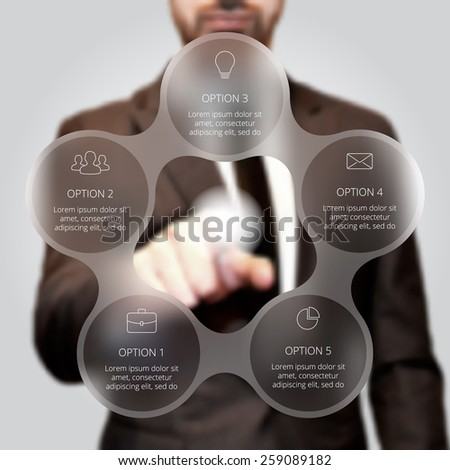 Businessman pressing button on a virtual background. Circle line infographic. Business concept with 5 options, parts, steps or processes. Linear graphic. Blur vector background. - stock vector