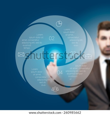 Businessman pressing button on a virtual background. Circle line infographic. Business concept with 4 options, parts, steps or processes. Linear graphic. Blur vector background - stock vector