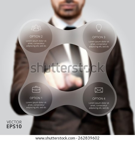 Businessman pressing button on a virtual background. Circle line infographic. Business concept with 4 options, parts, steps or processes. Linear graphic. Blur vector background. - stock vector