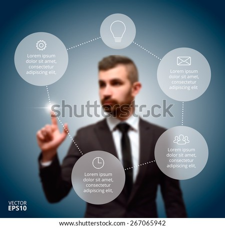 Businessman pressing button on a virtual background. Circle line infographic. Business concept with 5 options, parts, steps or processes. Linear graphic. Blur vector background - stock vector