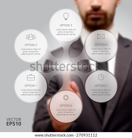 Businessman pressing button on a virtual background. Circle line infographic. Business concept with 6 options, parts, steps or processes. Linear graphic. Blur vector background. - stock vector