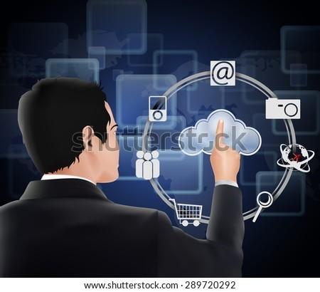 Businessman pressing virtual icons cloud. vector - stock vector