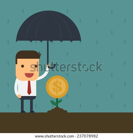 Businessman protecting your money ,Vector cartoon concept abstract business
