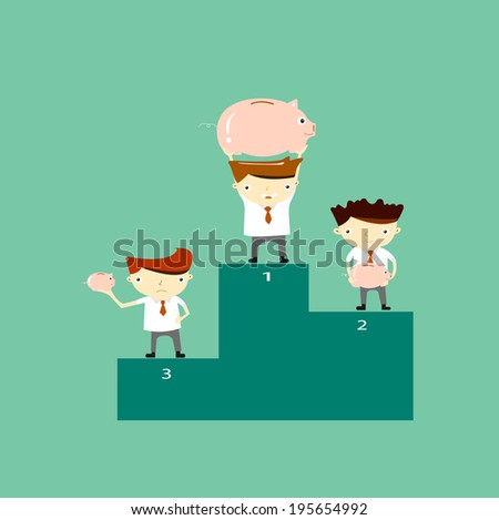 Businessman proudly standing on the winners podium with the pig piggy bank - stock vector