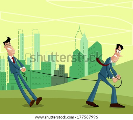 Businessman pulling other businessman, Rivalry concept - stock vector