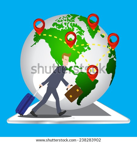 businessman pulling travel bag suitcase and briefcase on tablet with world and location icon background, Elements of earth map Furnished by NASA. - stock vector