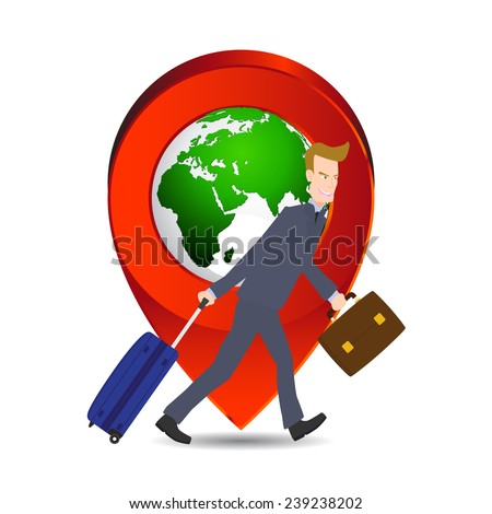 businessman pulling travel bag suitcase and briefcase with location world icon, Elements of earth map Furnished by NASA. - stock vector