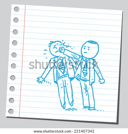 Businessman punching other businessman in face - stock vector