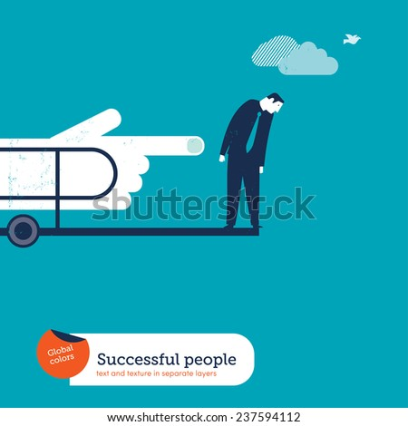 Businessman pushed by a hand in a diving board. Vector illustration Eps10 file. Global colors. Text and Texture in separate layers. - stock vector