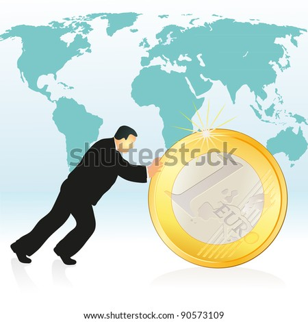 Businessman pushing Euro coin in front of the world`s map - stock vector