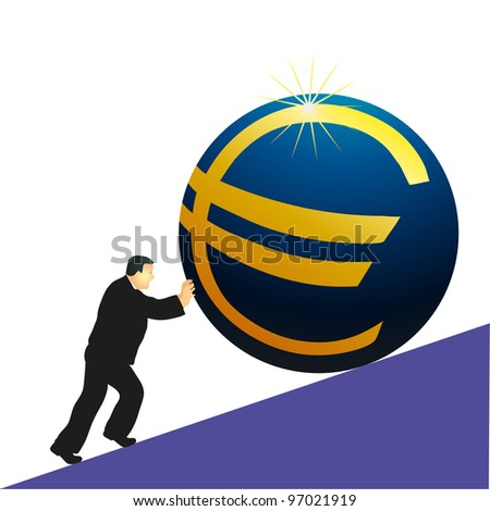 Businessman pushing Euro symbol - stock vector