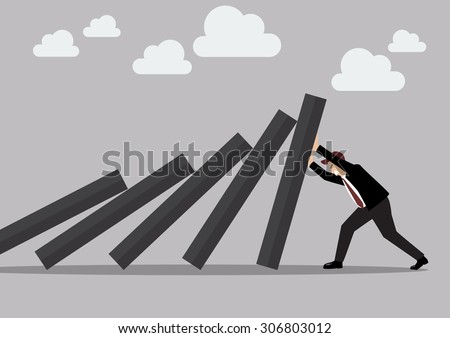 Businessman pushing hard against falling deck of domino tiles. Business Concept - stock vector