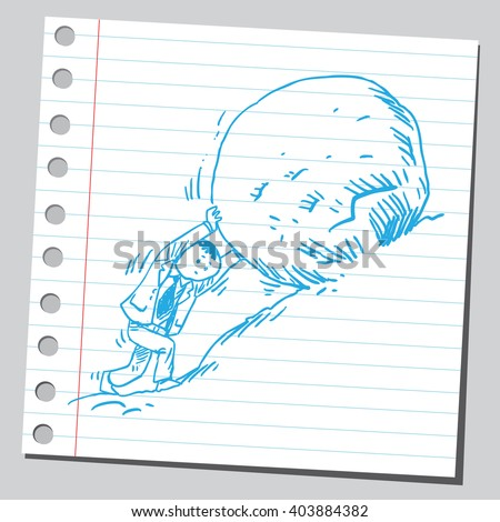 Businessman pushing rock uphill - stock vector